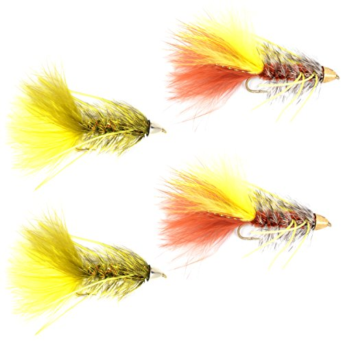 Cone Head Bugger Fly Fishing Flies Assortment - Bass Big Trout Streamers Fly Fishing Fly Collection - 4 Flies Size 4