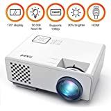 Projector, FUNAVO RD-815 LED Mini Video Projector for Multimedia Home Theater, Supports 1080P, Laptops, Smartphones, Amazon Fire TV Stick & DVDs via HDMI, USB, VGA & AV (White)