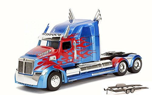 Diecast Car & Trailer Package - TRANSFORMERS 5 Optimus Prime, Blue w/Red - Jada 98403/12 - 1/24 Scale Diecast Model Toy Car w/Trailer