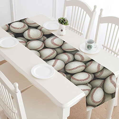 InterestPrint Baseball Sport Table Runner Home Decor 14 X 72 Inch,Baseball Pattern Table Cloth Runner for Wedding Party Banquet Decoration