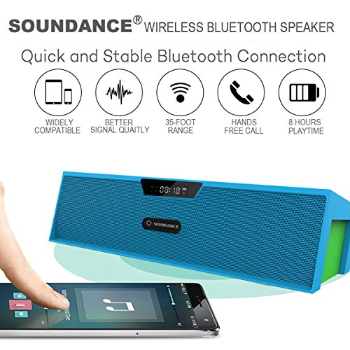 Soundance Wireless FM Radio Bluetooth Speaker Alarm Clock with Loud Sound Built-in Mic LED Screen, Support USB AUX MicroSD, Compatible with Alexa MP3 iPhone Android Computer Tablet, Model SDY019 Blue