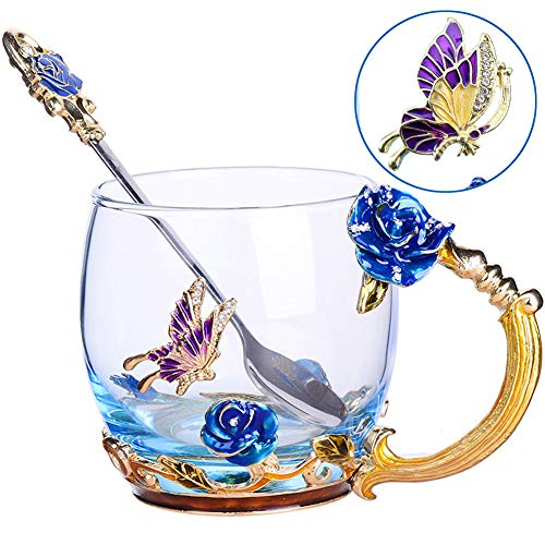 Tea Cup Coffee Mug Cups, Clear Glass Coffee Cups Tea Mugs with Spoon Set Handmade Enamel Butterfly Rose Flower,12 oz (Blue Rose) Ideal for Friend Wedding Anniversary Birthday Presents ...