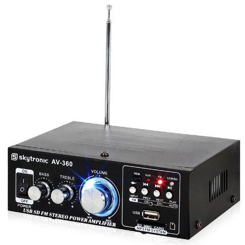 Hi-Fi 2 x 40 W, puerto USB SD MP3, Radio FM, AUX Skytronic-AV 360 final de audio-Amplificador de potencia