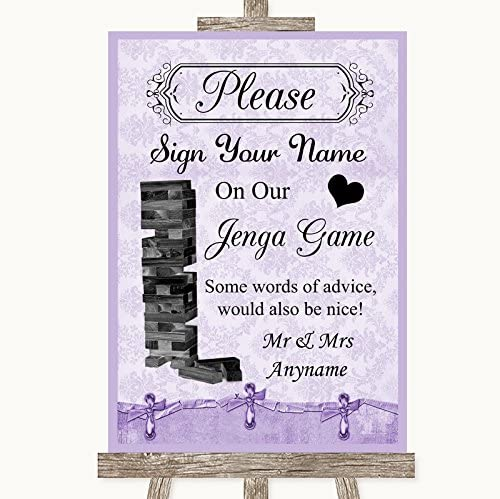 Wedding Sign Poster Print Lilac Shabby Chic Jenga Guest Book