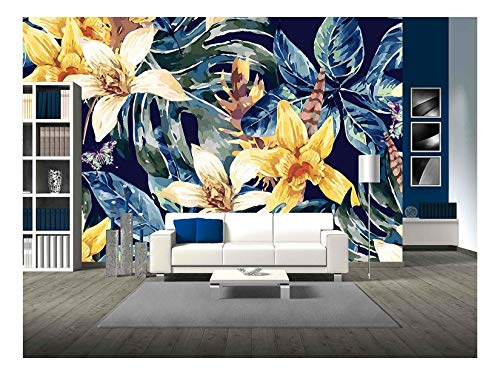 Tropical Leaves and Exotic Flowers Wall Decor