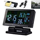 MASO Car LCD Digital Multifunctional Clock 12V/24V Thermometer Hygrometer Weather Forecast Temperature Alarm 4 in 1 with 1.5m Cable