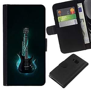 All Phone Most Case / Oferta Especial Cáscara Funda de cuero Monedero Cubierta de proteccion Caso / Wallet Case for HTC One M7 // Neon Blue Guitar Glow
