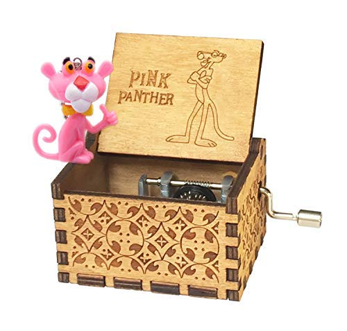 Sooye Pink Panther Music Box- 18 Note Mechanism Antique Carved Children's Collection(Pink Panther)