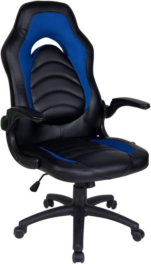 Polar Aurora Office Chair Leather Desk High Back Ergonomic Adjustable Racing Chair Task Swivel Executive Computer Chair (Blue & Black)