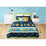 3 Piece Boys Blue Multi Outer Space Themed Comforter Full Queen Set, Beautiful Planets Stripe, Rocket Ships, Spacesuits, Robots, Stars, Polka Dots Print, Fun Imaginative Adventure Bedding, Polyester