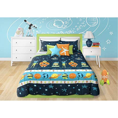 - 2 Piece Boys Blue Multi Outer Space Themed Comforter Twin Set, Beautiful Planets Stripe, Rocket Ships, Spacesuits, Robots, Stars, Polka Dots Print, Fun Imaginative Space Adventure Bedding, Polyester