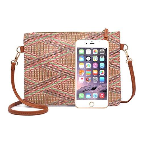 Zipper Bag Vintage Striped Summer Crossbody Shoulder Mini Halijack Beach Women Boho Soft Handbag Student Messenger Wallet Ladies Cellphone Khaki Casual Bag Bag Bag XwxFAqw0v