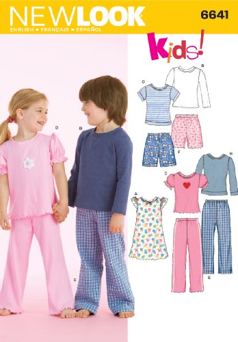 3 Sewing Patterns - New Look Sewing Pattern 6641 Child Sleepwear, Size A (3-4-5-6-7-8)
