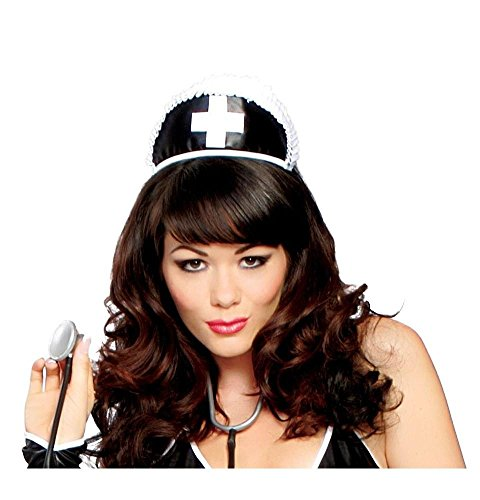 Black Nurse Hat With Cross (As Shown;One (Halloween Black Nurse Hat)