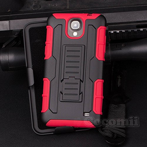 Galaxy Mega 2 Case, Cocomii Robot Armor NEW [Heavy Duty] Premium Belt Clip Holster Kickstand Shockproof Hard Bumper Shell [Military Defender] Full Body Dual Layer Rugged Cover Samsung G750 (Red)