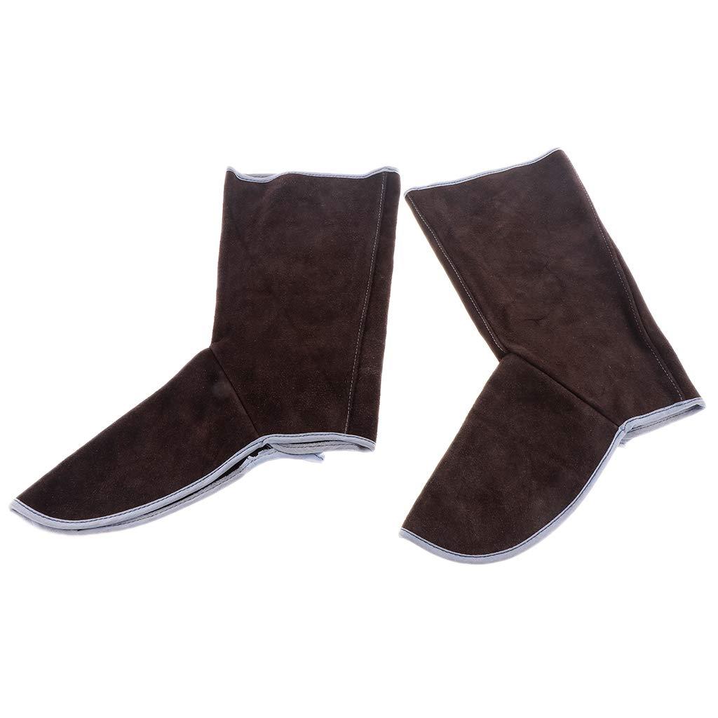 Baosity Heavy Duty Leather Welding Coat Work Apron XXL+ 1Pair Welding Foot Covers - Heat Resistant & Flame Resistant BBQ Apron, Adjustable, Brown by Baosity (Image #5)