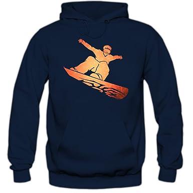 Shirt Happenz Snowboard Sudadera con Capucha | Hombre | Deporte de Invierno | Esquí Alpino |
