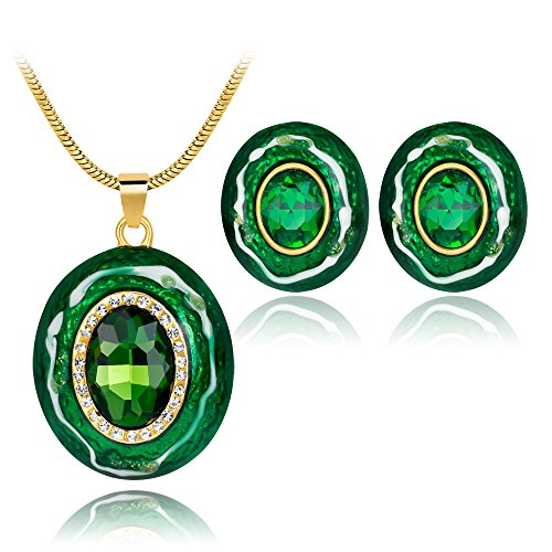 Ezing Handcrafted Green Enamel Jewelry Set for Women Costume Pendant Necklace Earrings (Green And Gold Costume Jewelry)