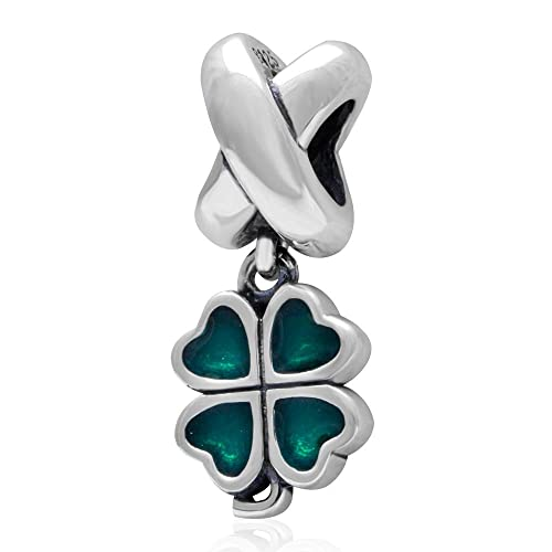 6b3739f17 Image Unavailable. Image not available for. Color: Sterling Silver Green  Lucky Irish Four Leaves Clover Heart Bead Charm for Charms Bracelet