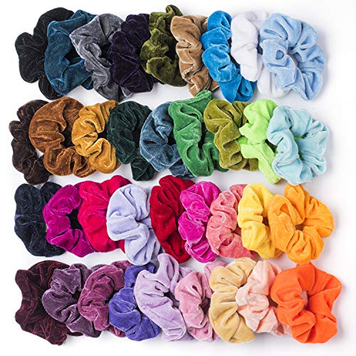 SEVEN STYLE 36 Pcs Hair Scrunchies Velvet Elastic Hair Bands Scrunchy Hair Ties Ropes Scrunchie for Women or Girls Hair Accessories - 36 Assorted Colors Scrunchies (36 PCS Velvet Hair -