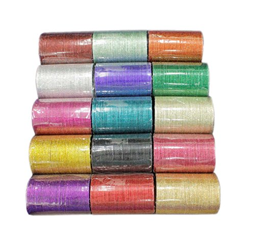 {Extra 25% Discount} Indian Traditional Plain Bangle Full Box Set of 15 Color Partywear Jewelry (2.1 Inches) by Muchmore