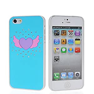 HKCFCASE Heart Wing Hard Rubberized Bling Diamante Rubber Coating Shell Case Cover For Apple Iphone 5 5G 5th Blue