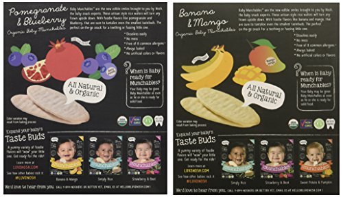 Nosh Baby Munchables Teethers Organic Rice Teething Wafers, 26 Piece, Sampler Pack (Pack of 2), Pomegranate Blueberry & Banana Mango by nosh (Image #3)