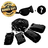 FriskyNite™ Premium Bed Restraint System Kit Medical Grade Strap with Soft Furry Comfortable Wrist and Ankle Cuffs BONUS Gift Included (Black)