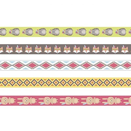 Set de 5 Masking Tape Amérindien - Ruban Adhésif - Ruban Autocollant - Masking Tape Renard