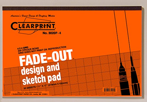Clearprint 3020 Bond Pad with Printed Fade-Out 4x4 Grid, 20 lb., 11 x 17 Inches, 50 Sheets, White, 1 Each (9371117P4) by Clearprint