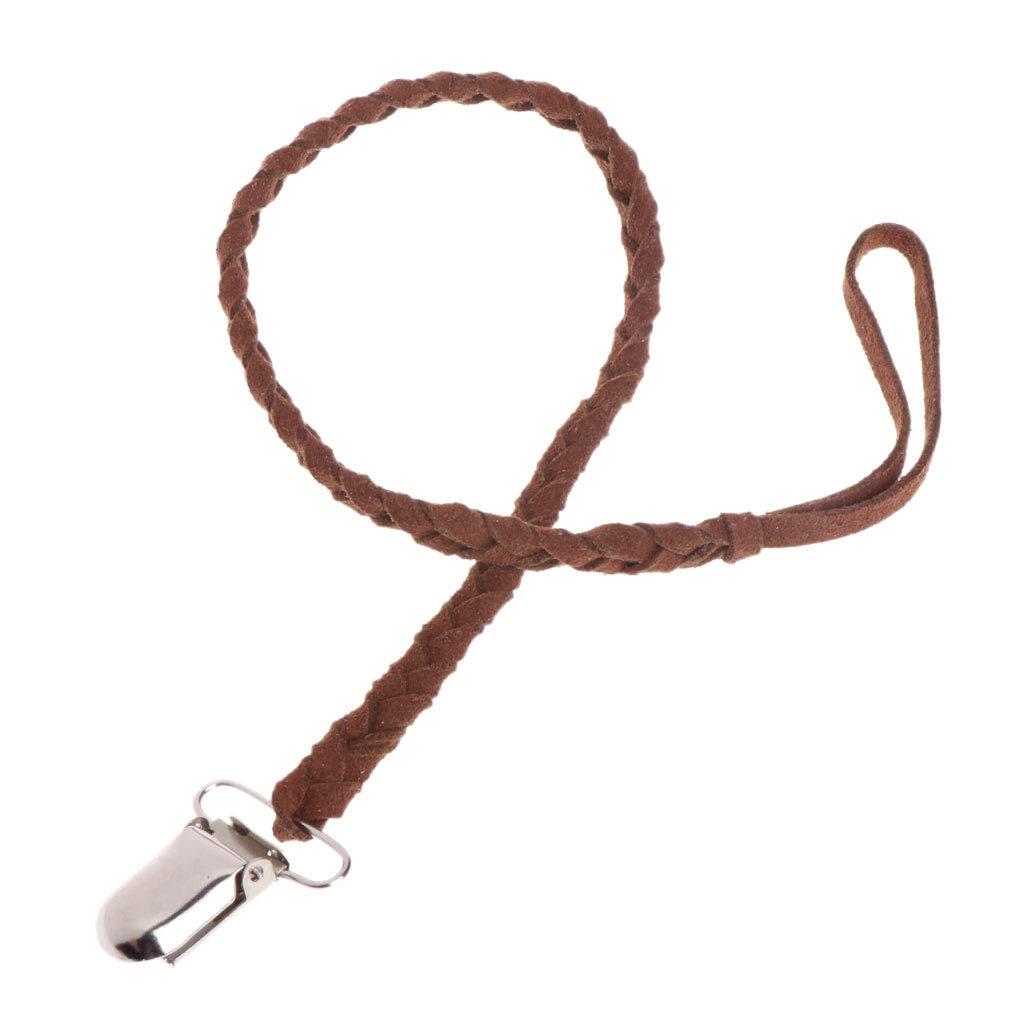 MIsha Chupete cordones cordón de cuero trenzado Clip chupete de ...