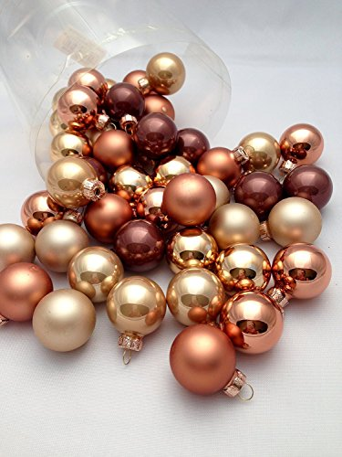 45 Pc Mini Brown Copper Bronze Decorative Hanging Ornaments Indoors Glass Xmas Christmas Tree Decorations Holiday Ball Bauble Hanging Party Home Holiday Decorations (Copper Balls Christmas)