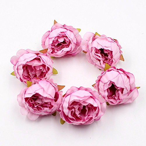 (silkflowers 15pcs/lot 5cm fakeflowers Quality Peony Flowe Head Silk artificialflowers Wedding Decoration DIY Garland Scrapbook Gift Box Flowe (Pink))