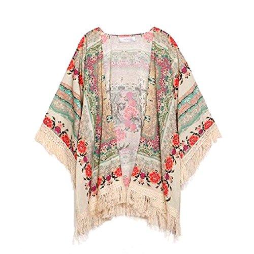 Transer ? Manteaux Femme,Femmes Dcontracte Floral glands en vrac Chale Kimono Cardigan Tops Cover Up Blouse Veste Beige(S-L)