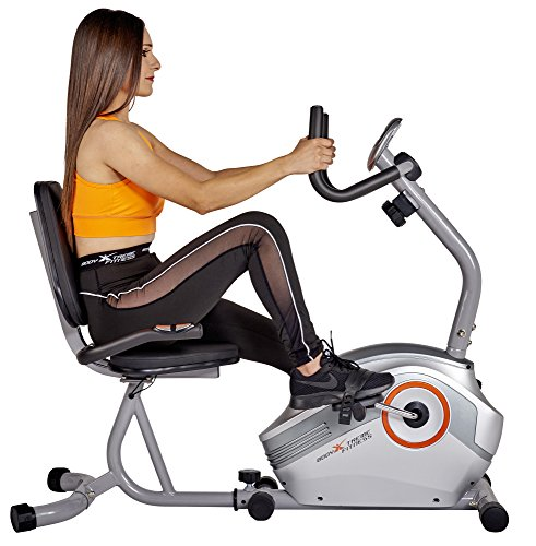 Buy Cheap Body Xtreme Fitness Recumbent Bike BXF003 - Home Exercise Equipment, Silver/Orange, Magnet...
