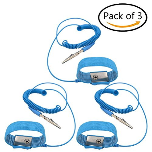 DatingDay 3 Pack Anti-static Wrist Strap Discharge Band Adjustable Grounding Wrist Strap Band, (3 Pack Wristband)
