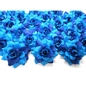 "(100) Silk Two Tone Blue Roses Flower Head - 1.75"" - Artificial Flowers Heads Fabric Floral Supplies Wholesale Lot for Wedding Flowers Accessories Make Bridal Hair Clips Headbands Dress 105"