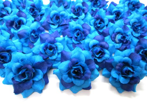 (100) Silk Two Tone Blue Roses Flower Head - 1.75