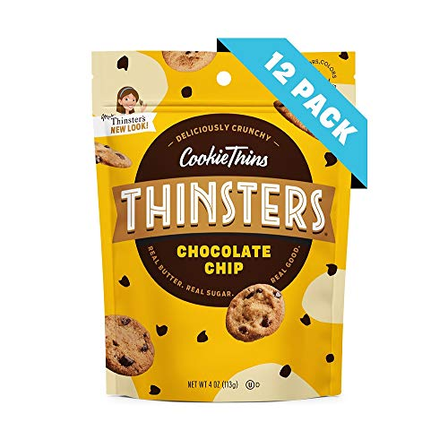 Thinsters Cookie Thins Chocolate Chip, 4 Ounce (Pack of 12), Non GMO, Peanut Free