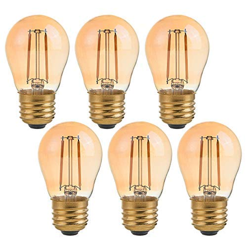 (Panledo 2 Watt Vintage Edison LED Bulbs, Globe LED Filament Bulb, 2200K Ultra Warm White, E26 Base, A15 Amber Glass Antique Gold Tint, 25W Incandescent Replacement, Dimmable, Pack of 6)