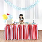 Suppromo Red and White Striped Table Skirt For Baby Shower Decoration, Birthday Party, Wedding, Home and Carnival Circus Decoration (L 6(ft) H 31in,RED & WHITE)
