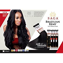 "MilkyWay Remy Human Hair Weave SAGA Brazilian Remy Yaky [12""] (1B)"