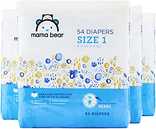 1 (By Amazon - Mama Bear Diapers Size 1, 216 Count, Bears Print (4 packs of 54))
