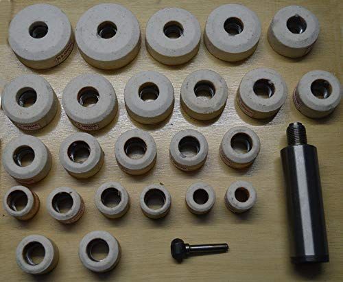(VALVE SEAT GRINDER STONES ZIRCON WHITE 24 PIECE & HOLDER KIT FOR SIOUX 80 GRIT)