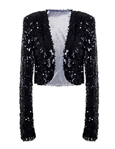 ff983659e0c kayamiya Womens Shiny Sequin Long Sleeve Cropped Blazer Bolero Shrug 3XL US  16-18