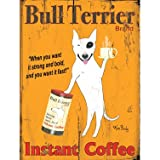Bull Terrier Instant Coffee by Artist Ken Bailey 14''x20'' Planked Wood Sign Wall Decor Art