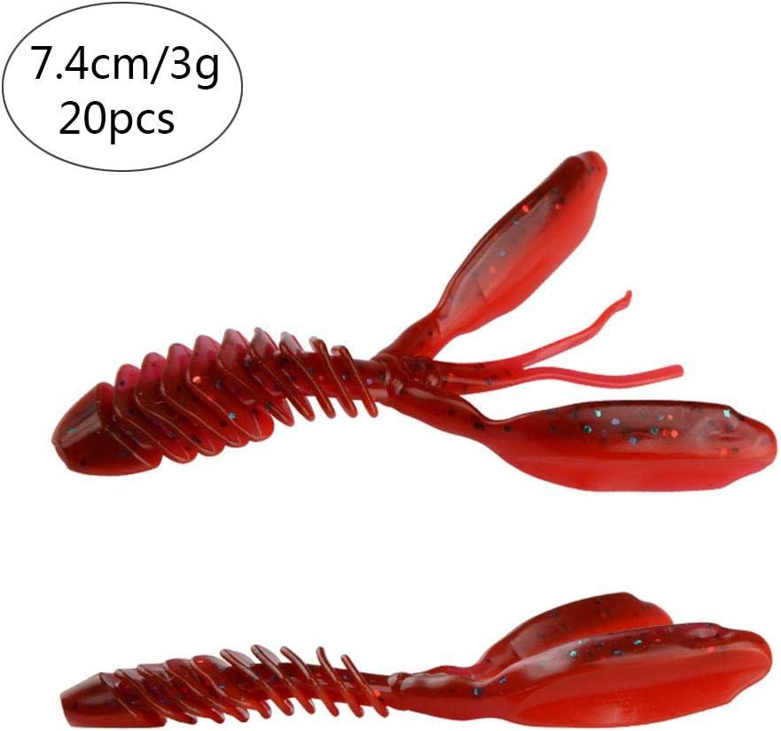 PVC 2 Taille 7.4cm // 3g, 9.5cm // 5.8g, Option 6 Couleurs East Rain Tube Swimbait de leurres Souples pour /écrevisses pour Eau Douce sal/ée
