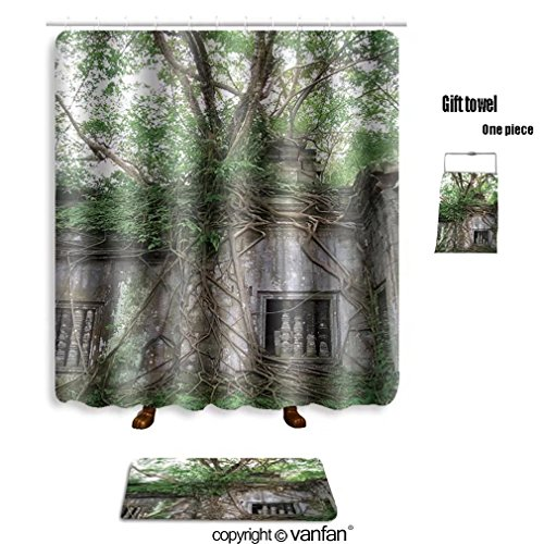 Delicate Vanfan Bath Sets With Polyester Rugs And Shower Curtain Jungle Eating The Amazing Temple Of
