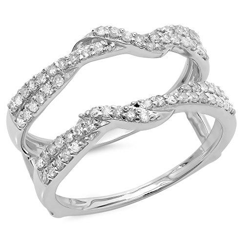 Diamond Bridal Ring Guard (0.55 Carat (ctw) 14K White Gold Round Diamond Ladies Wedding Swirl Guard Double Ring 1/2 CT (Size 9))