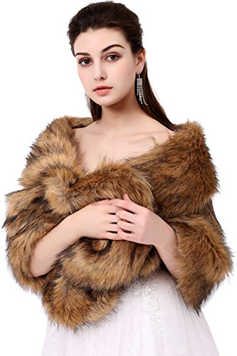 Poplarboy Women's Party Evening Wedding Fur Wraps and Shawls for Women Bridal Fur Stole (Brown Mink Jacket)